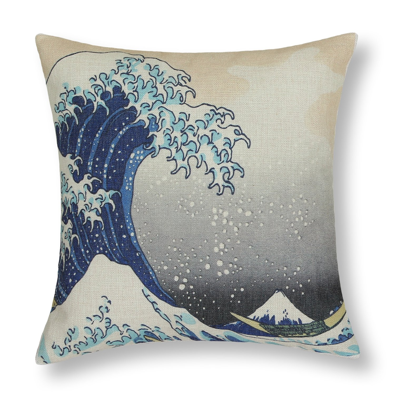 CaliTime Canvas Throw Pillow Cover Case for Couch Sofa Home Decoration Famous Picture Print 18 X 18 Inches Japanese Hokusai The Great Wave of Kanagawa