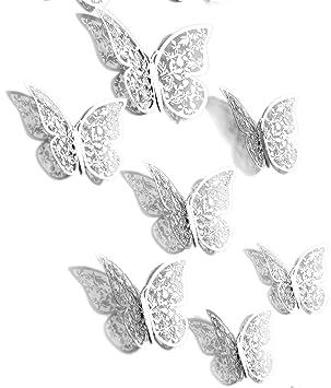 Wunderbar FiveSeasonStuff 24pcs 3D Silber Spiegel Hohlen Schmetterling Wand Aufkleber  / Karte Papier Wand Dekoration / Oberflächen