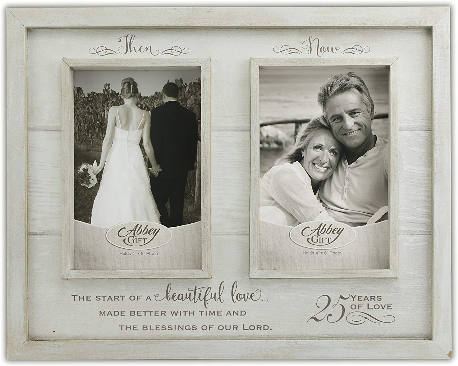 Abbey Gift Then /& Now 25Th Anniversary Wood Frame 12 x 9.5 Multicolor