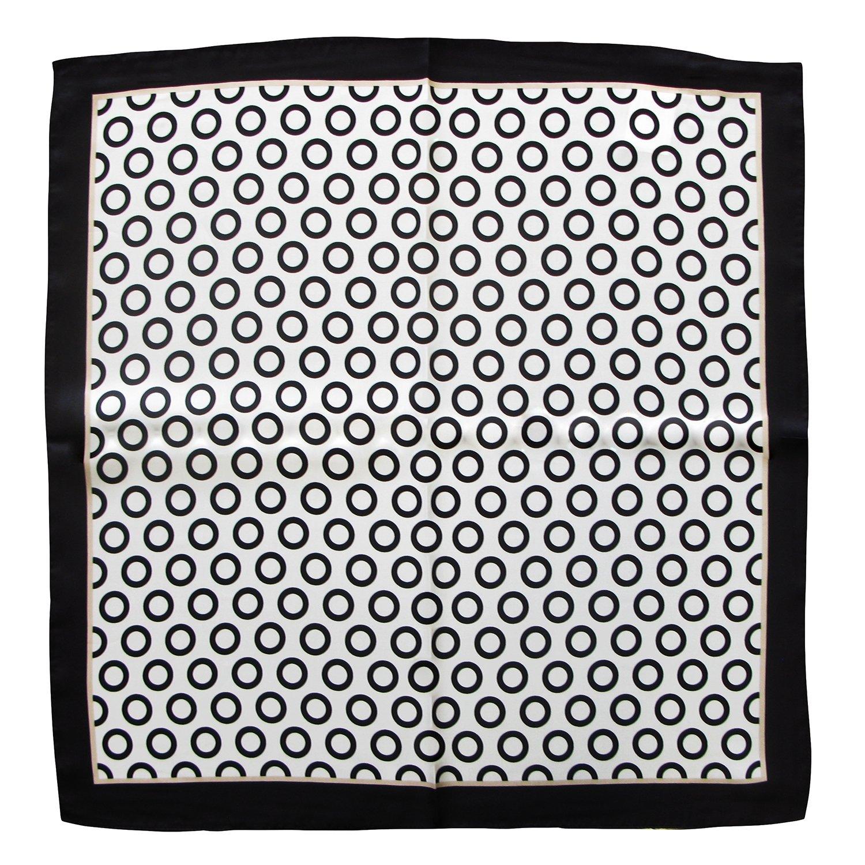foulard da collo di pura seta misura cm 53 x 53 disegno optical bianco e nero made in Italy foulard seta da collo 33 x 33
