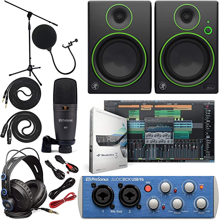 "Presonus AudioBox 96 Audio Interface (May Vary Blue or Black) Full Studio Bundle with Studio One Artist Software Pack w/Mackie CR3 Pair Studio Monitors and 1/4"" TRS to TRS Instrument Cable"