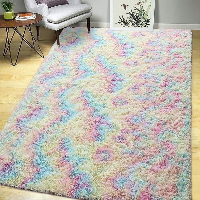 AROGAN Luxury Fluffy Girls Rug for Bedroom Kids Room 4 x 6 Feet, Super Soft Rainbow Area Rugs Cute Colorful Carpet for Nursery Toddler Home