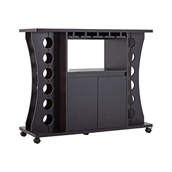 Amazon Com Iohomes Henley Freestanding Bar Table With Wine Rack