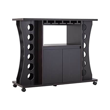 ioHOMES Henley Freestanding Bar Table with Wine Rack, Espresso