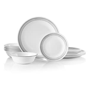 Corelle 18-Piece Service for 6, Chip Resistant, Mystic Gray Dinnerware Set,