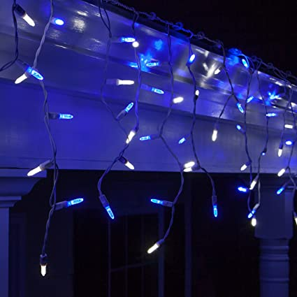 70 led icicle lights 75 white wire outdoor christmas lights outdoor christmas decorations - Blue And White Outdoor Christmas Decorations