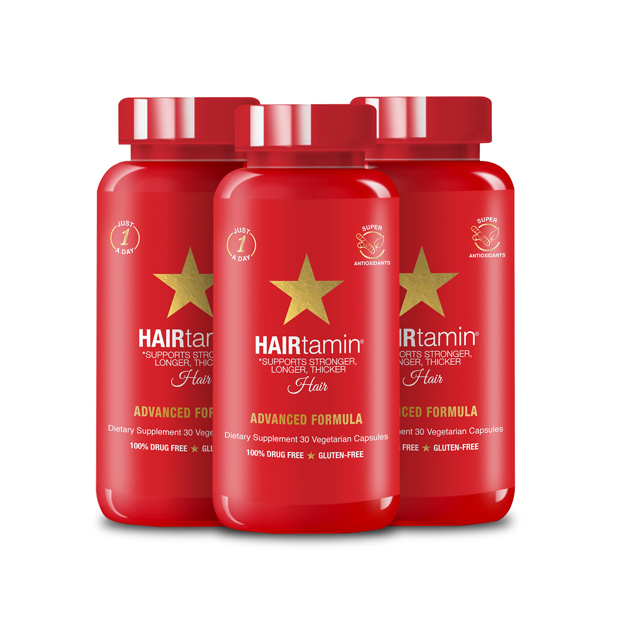 HAIRtamin Fast Hair Growth Biotin Vitamins Gluten Free thirty Vegetarian Capsules Supports Stronger Longer Thicker Hair Reduces Hair Loss and Thinning All Natural Supplement three pack