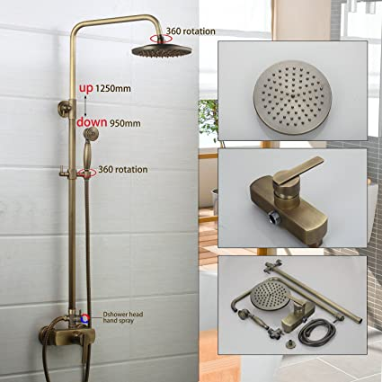 8 Shower Head Wall Mounted Bathroom With Handheld Shower Rainfall