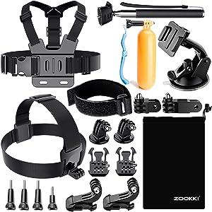 Zookki Accessories Kit GoPro Hero 7 6 5 4 Session 3 Silver Black SJ4000/SJ5000/SJ6000/SJ7 Action Camera Accessories AKASO/APEMAN/DBPOWER/Xiaomi Yi 4K/WiMiUS/Lightdow
