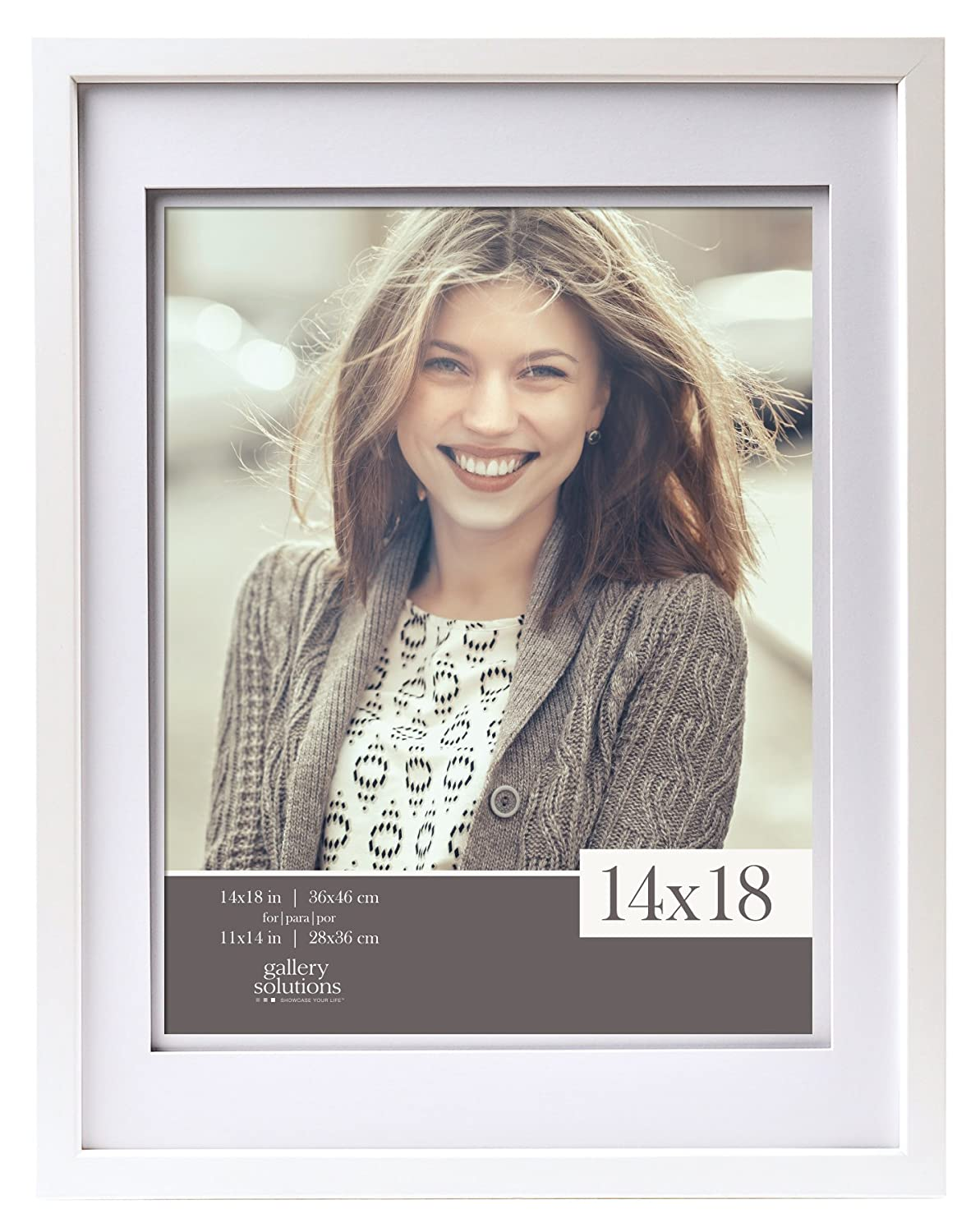 Gallery Solutions 14x18 Wood Wall Frame with Double White Mat for 11x14 Image
