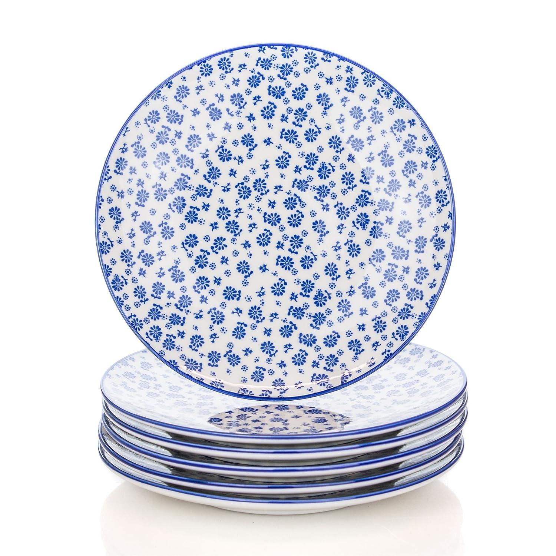 Flower Design Patterned Dessert / Side Plates - White / Blue - 190mm (7.5 Inches) - Pack of 6 B079J1RPR8