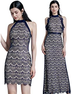 ca03a2dd3e3c Ever Pretty Women's Fashion Lace Halter Sleeveless Floor Length Empire  Waist Long Evening Dresses 07322