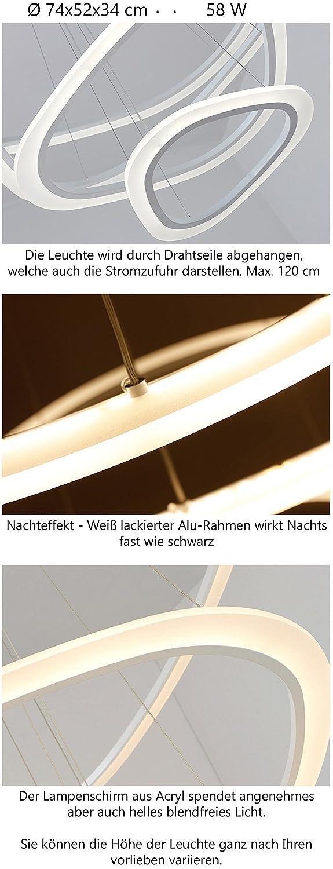 2138 3 Ringe WJ TonHan LED Pendelleuchte Mit Fernbedienung Lichtfarbe Und  Helligkeit Einstellbar Acryl Schirm Weiß Lackierter Metallrahmen  Individuelles ...