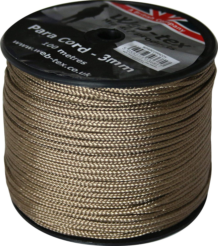 Web-tex - Rollo de cordón Paracord de 3 mm - 100 Metros
