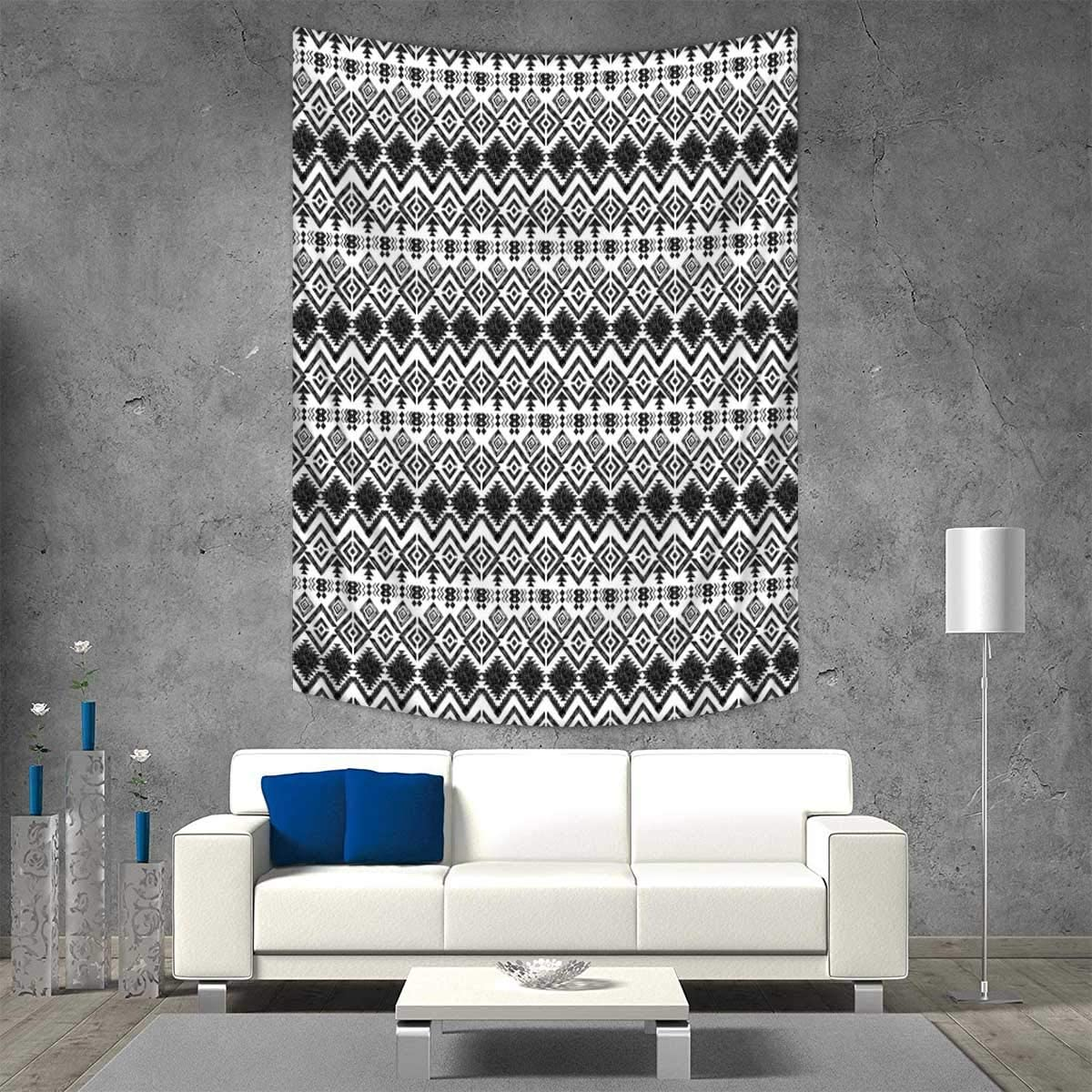 Modern Tapestry Wall Tapestry Geometric Design With Modern Hippie Zig Zags Triangles Squares Artful Print Art Wall Decor 51w X 60l Inch Black And White Amazon Co Uk Kitchen Home