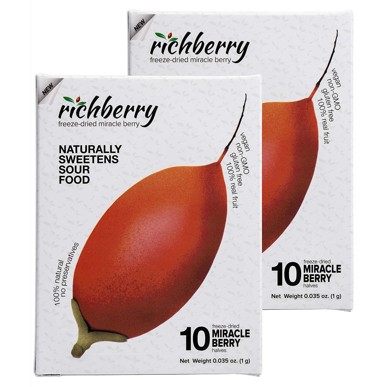 Miracle Berry by richberry, 2 Pack of 10 Halves (1g), Naturally Sweetens Sour Food, 100% Freeze-dried Premium Fruits, No Preservatives, Great for Snacks and Taste Tripping, Vegan