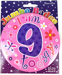 Daughter 9th birthday card amazon kitchen home age 9 birthday badge 9th birthday badge jumbo badge girl large big pink bookmarktalkfo Images
