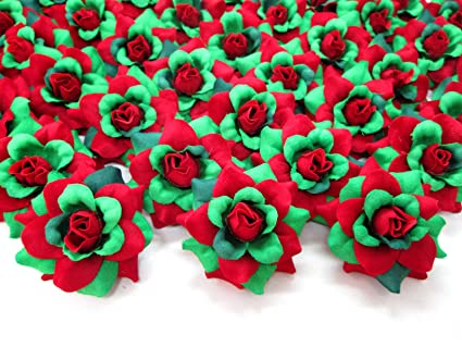 afe8f76e85 Amazon.com: (100) Silk Christmas Roses Red Green Flower Heads - 1.75 ...