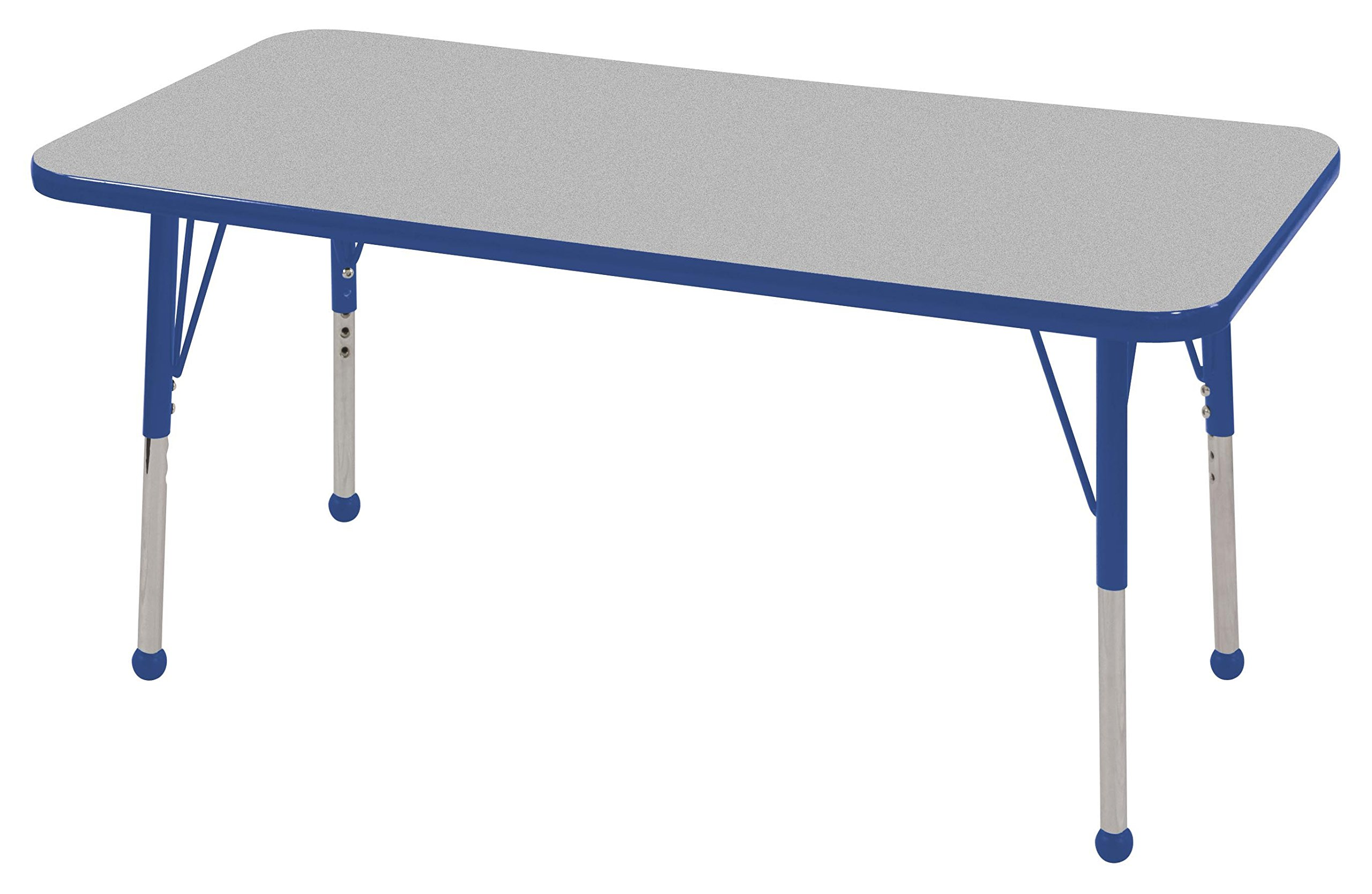 ECR4Kids Mesa T-Mold 24'' x 48'' Rectangular School Activity Table, Standard Legs w/ Ball Glides, Adjustable Height 19-30 inch (Grey/Blue)