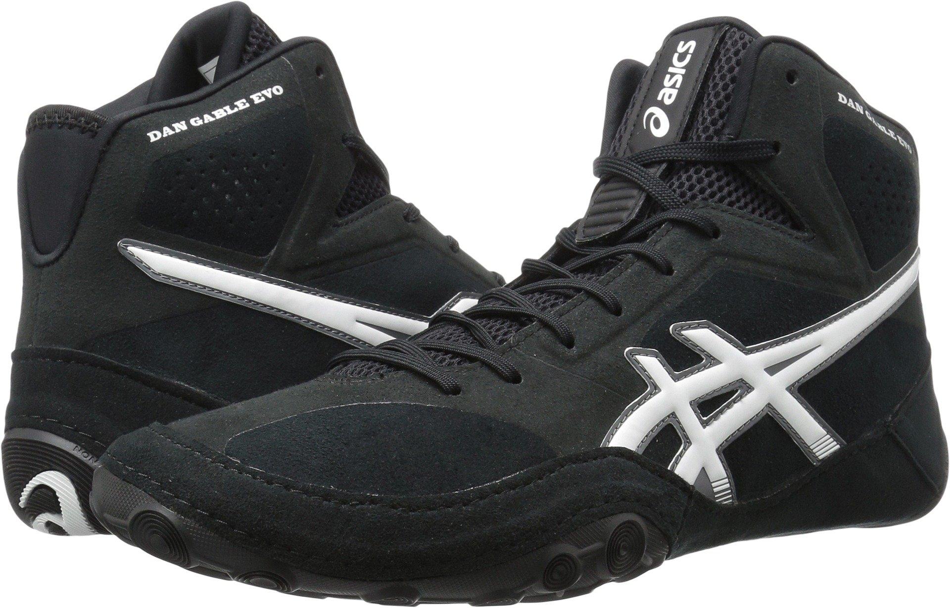 ASICS Men's Dan Gable Evo Wrestling Shoe, Black/White/Carbon, 9 Medium US