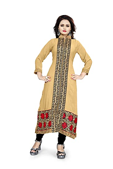 644300c93 BanoRani Womens Faux Georgette Beige Color Embroidery Semi Stitched Free  Size Kurti  Amazon.in  Clothing   Accessories