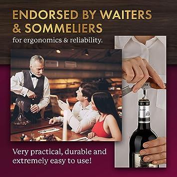 with Box//Leather Case,Double Steel Head WANGZHENG Wine Bottle Opener Manual Waiters Corkscrew Stainless Steel Wood Handle Beer Bottle Opener