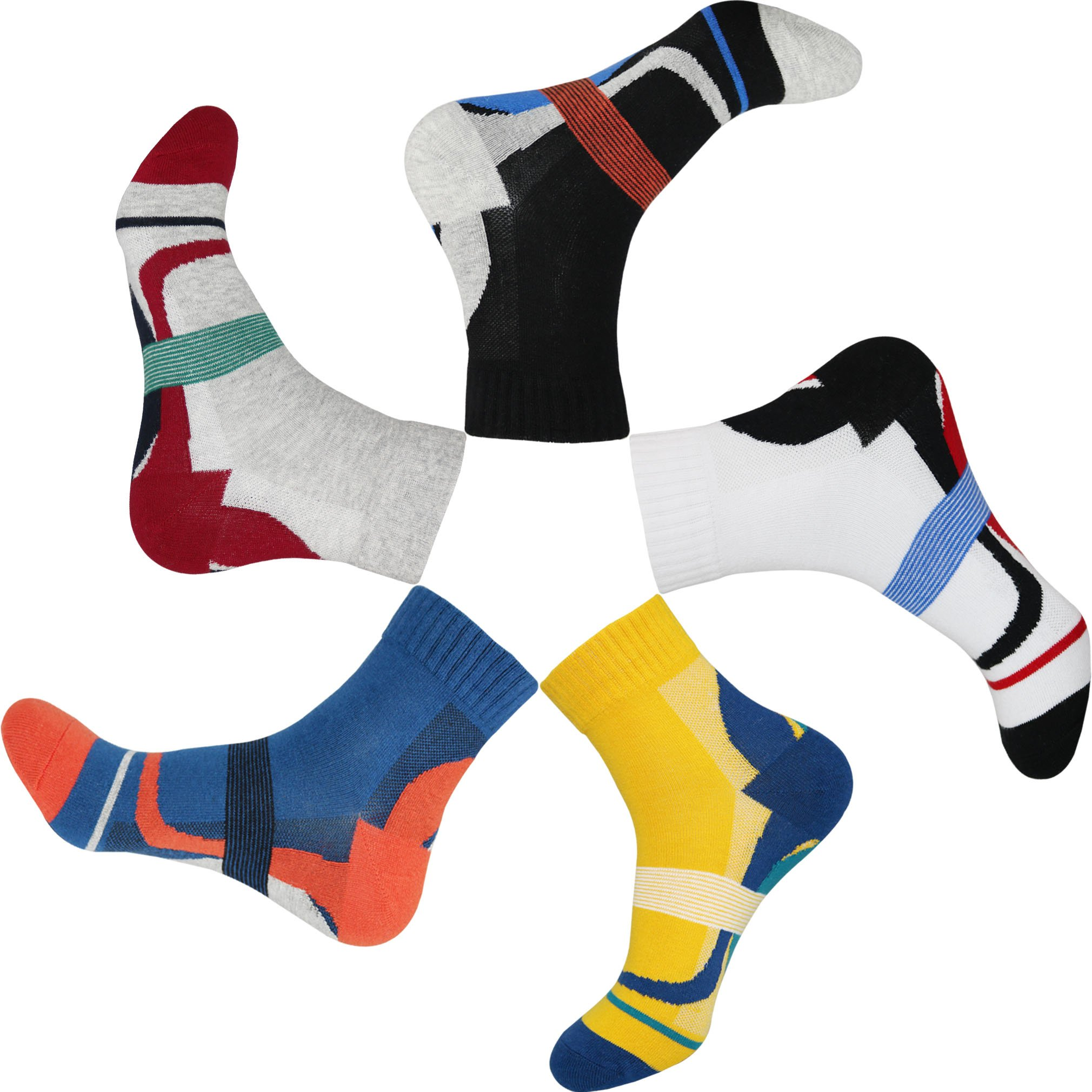 TongXG Men's 5 Pack Cotton Quarter Sports Athletic Colorful Pattern Socks (6-13, black/white/yellow/blue/grey)