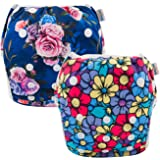 (stripes and flowers) - Babygoal Reusable Swim Nappies, 2 Pack Swimming Nappies, Swimming nappy,Washable and Adjustable for Swimming, Fit Babies 0-2 Years 2SWF04