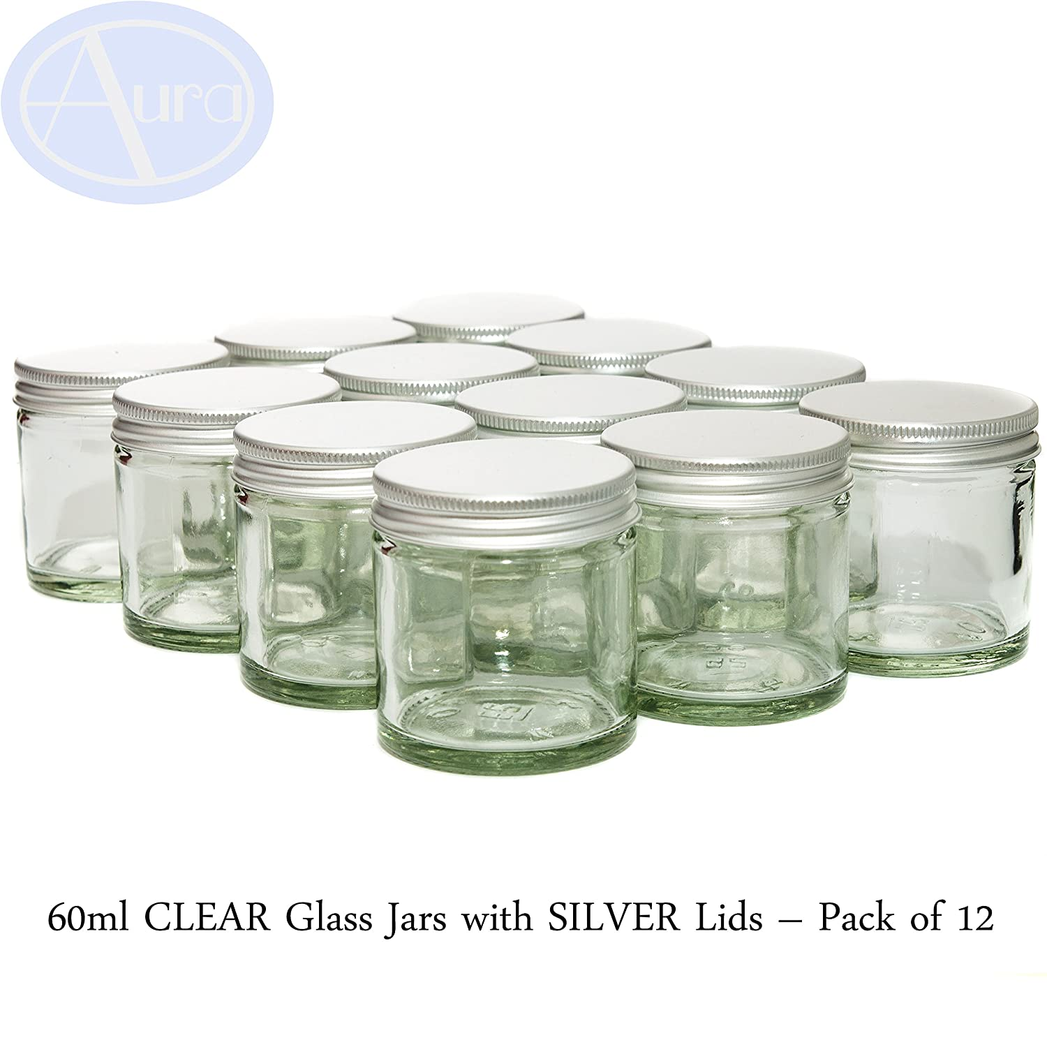 60ml Clear Glass Jars with Silver Lids - Pack of 12 Aura Essential Oils CGJ60mlS12