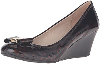 a9e1319cc698 Cole Haan Women s Tali Grand Bow Wdg65 Wedge Pump Tortoise Print Patent 9  ...
