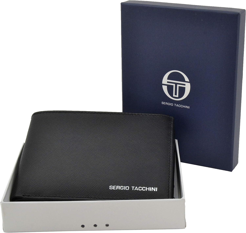 noir Sergio Tacchini fin avec porte-cartes Portefeuille homme en cuir v/éritable bo/îte cadeau