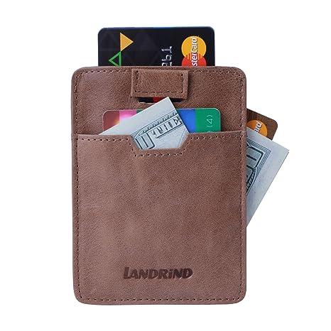 LANDRiND Bloqueo RFID Cuero Genuino de Grano Completo Carteras Front Pocket Slim con Diseño de lengüeta