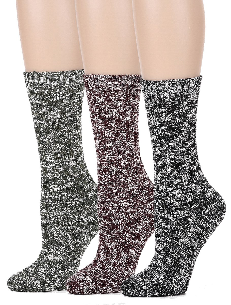 Leotruny Women's Vintage Knit Crew Boot Socks (3pairs-assorted)