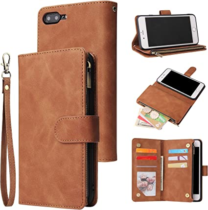 iPhone 7 Plus Flip Case Cover for Leather Extra-Shockproof Business Kickstand Mobile Phone Cover Card Holders Flip Cover