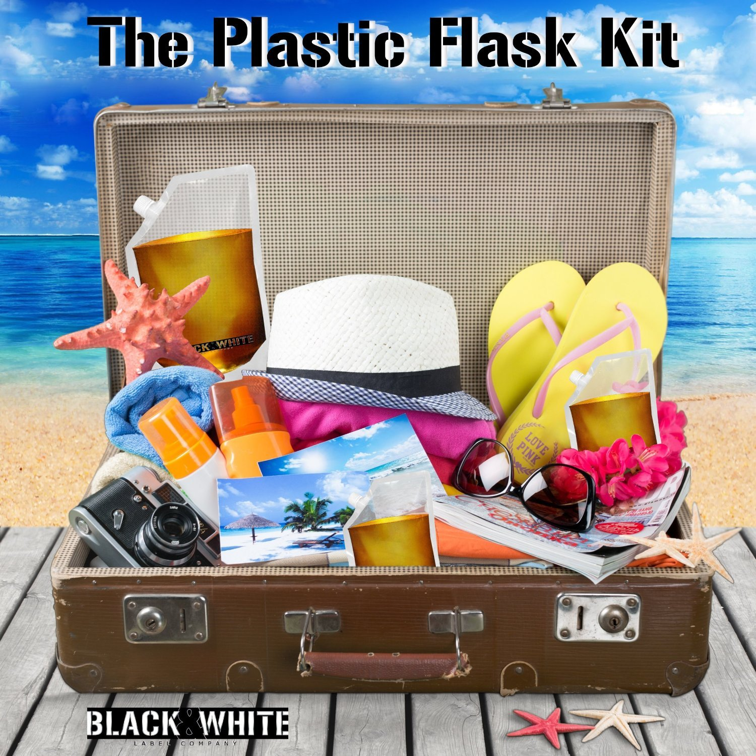 (9) Black & White Label Plastic Flasks Liquor Flask Rum Runner Cruise Kit Sneak Alcohol Drink Wine Pouch Bag Set Concealable Flasks For Booze (3x32oz + 3x16oz + 3x8oz + Wine To Go Flask +Funnel) by Black & White Label Company (Image #5)