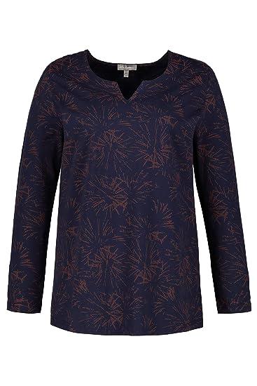 33e8683d56a Ulla Popken Femme Grandes Tailles T-Shirt col Tunisien imprimé Graphique  Bleu Marine 44
