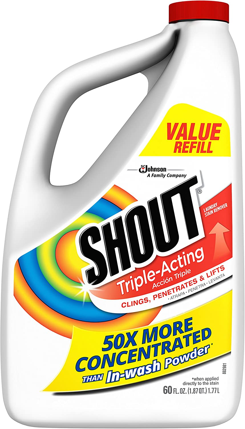 Shout Triple-Acting Laundry Stain Remover for Everyday Stains Liquid Refill, 60 fl oz - Pack of 6