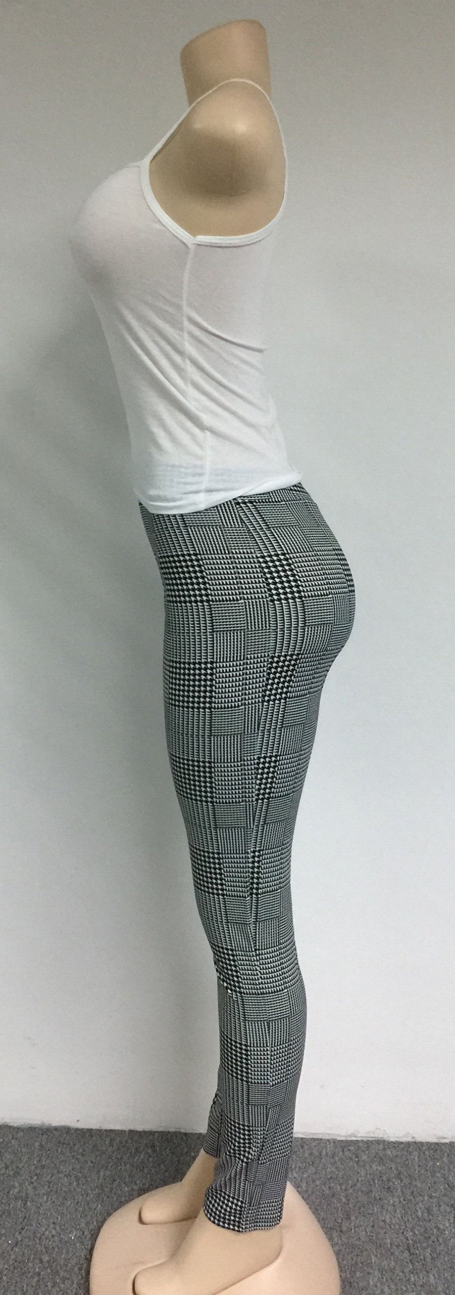VERWIN Long Sleeve Plaid Tops and High Waist Skinny Pants Houndstooth Blazer Outfit 3 Sets XL by VERWIN (Image #9)