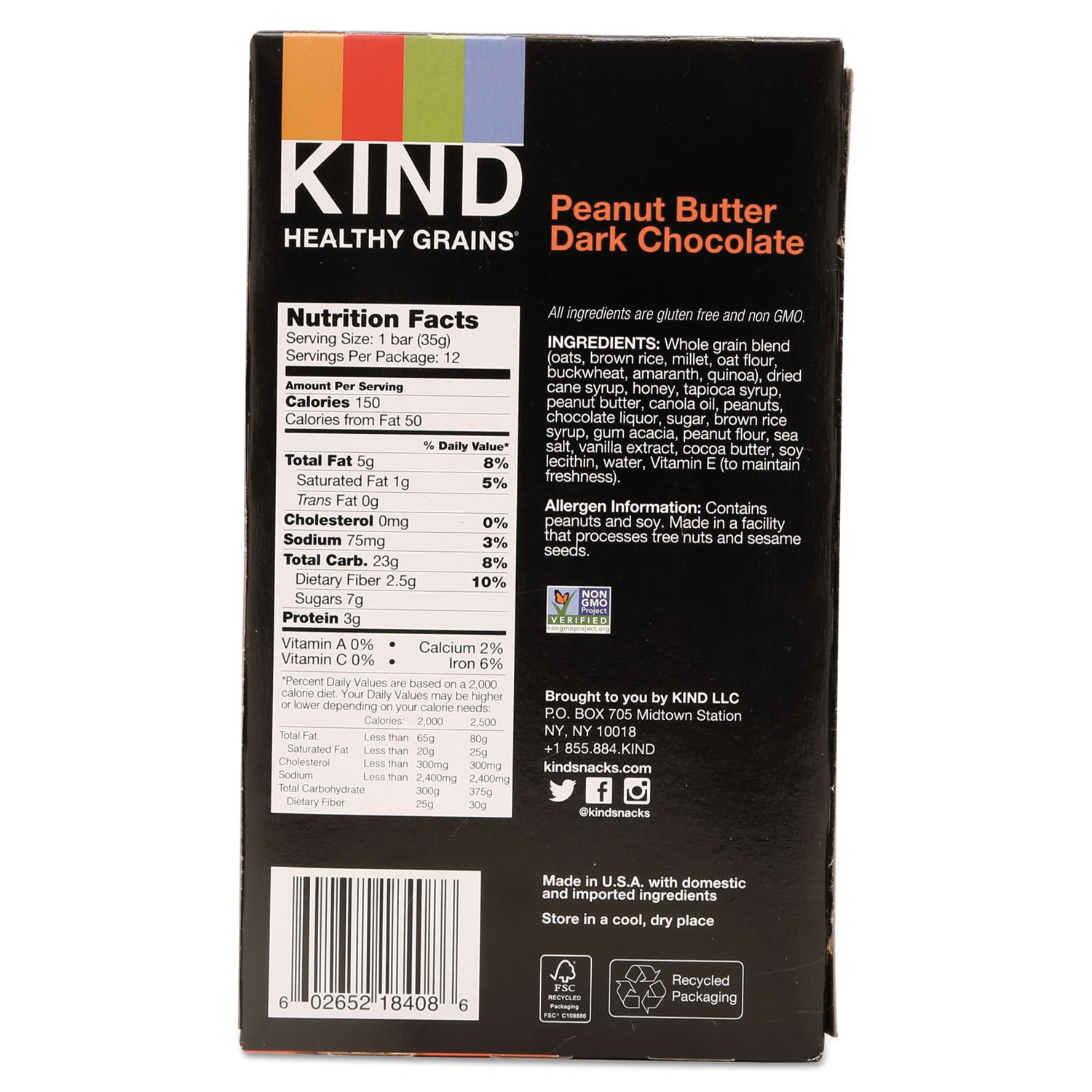 KIND 18083 Healthy Grains Bar, Peanut Butter Dark Chocolate, 1.2 oz, 12/Box by Reg