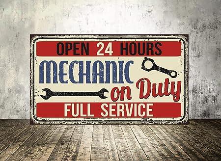 Dozili Mechanic On Duty Metal Sign Mechanic Garage Metal Sign