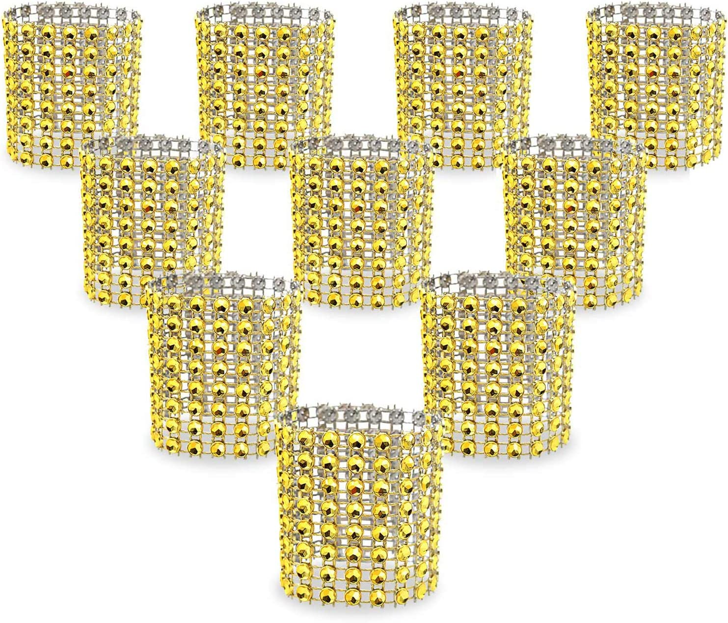 Juvale Diamond Napkin Rings for Dinner Parties and Weddings Gold, 6 Pack