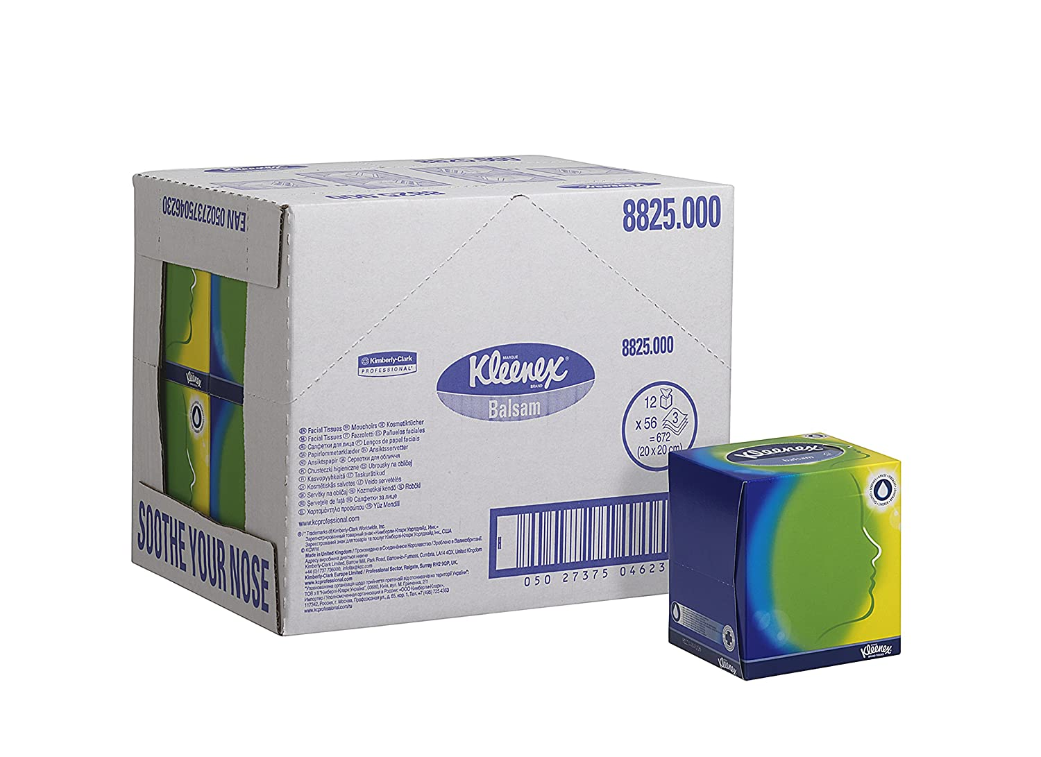 Kleenex 8825 Facial Tissue Cube, White, Three Ply Sheets, 12 Cubes x 56 Kimberly-Clark Professional (EU) 08825000