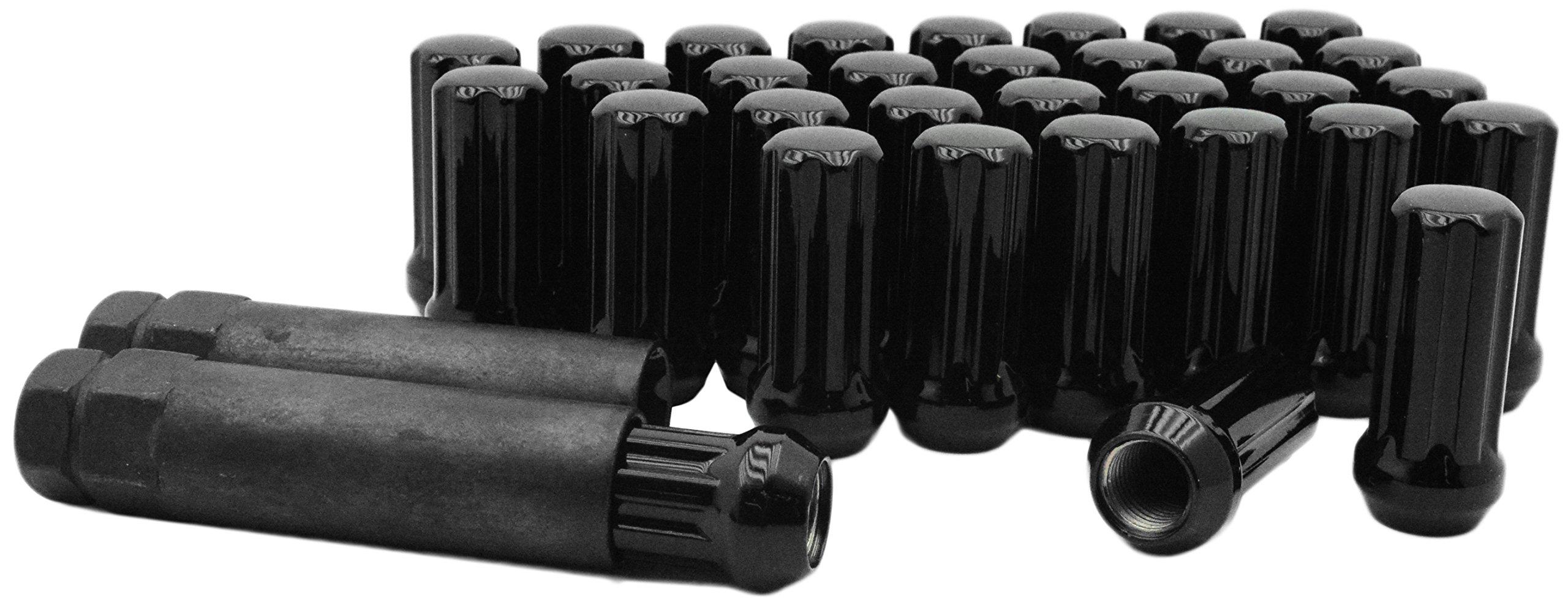 Venum wheel accessories 32 Pc Black 14x1.5 Spline Lug nuts For Aftermarket Wheels With 2 Keys Fits All Years Silverado's Sierra 8 Lugs 2500 3500