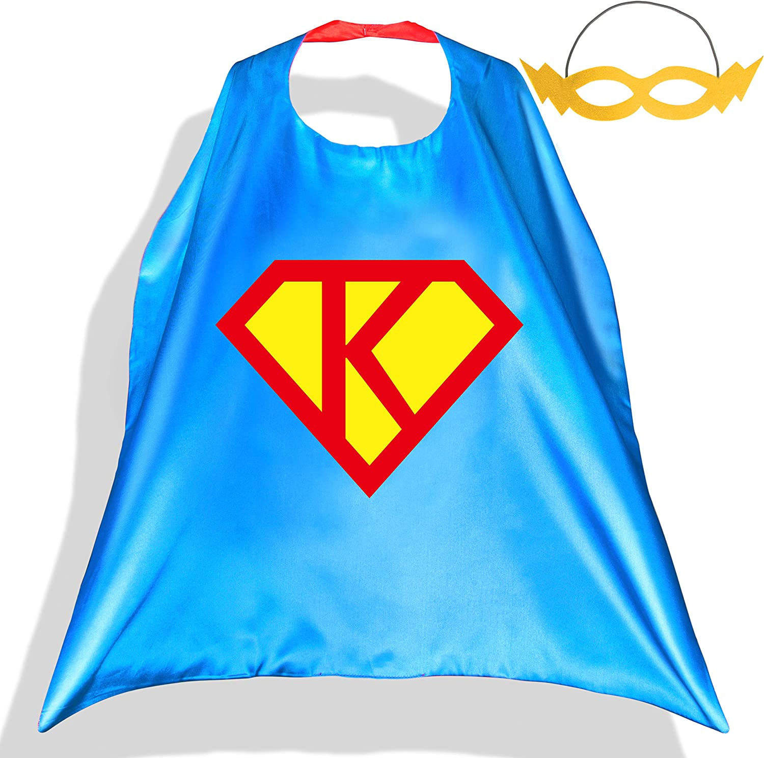 PROLOSO Superhero Capes with Felt Masks for Kids Super Hero Diamond Costume Cartoon Pretend Play Dress Up Outfit 26 Letters