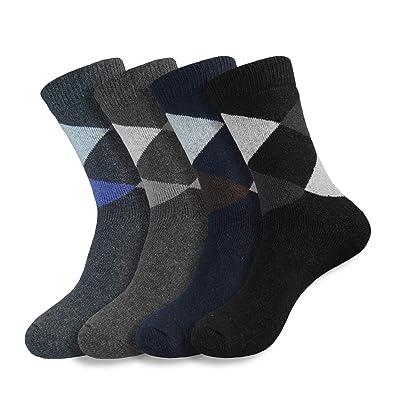 4 Pairs of Men's Winter Warm Soft Comfort Versatile Dress Wool Socks (Argyle) at Amazon Men's Clothing store