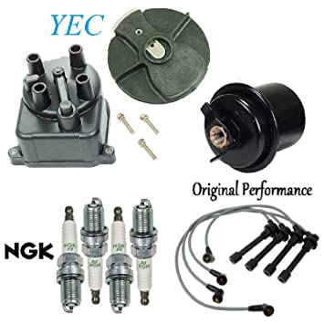 Tune Up Kit 1 Gas Filter 1 Cap 1 Rotor 4 Spark Plugs and Wires for Honda Civic