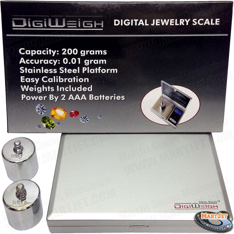 DigiWeigh dw-200as 200 G x 0,01 G escala Digital de bolsillo con 2 100 G calibración equilibrio Pesos: Amazon.es: Hogar