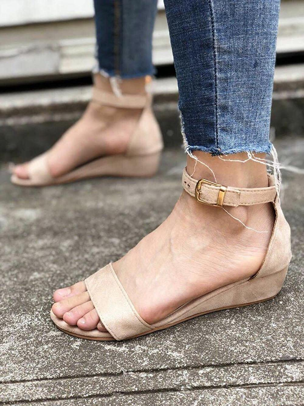 Ladies Ankle Strap Buckle Wedges Sandals Solid Color Peep Toe Light Sandals Gogoodgo Retro Roman Shoes for Women