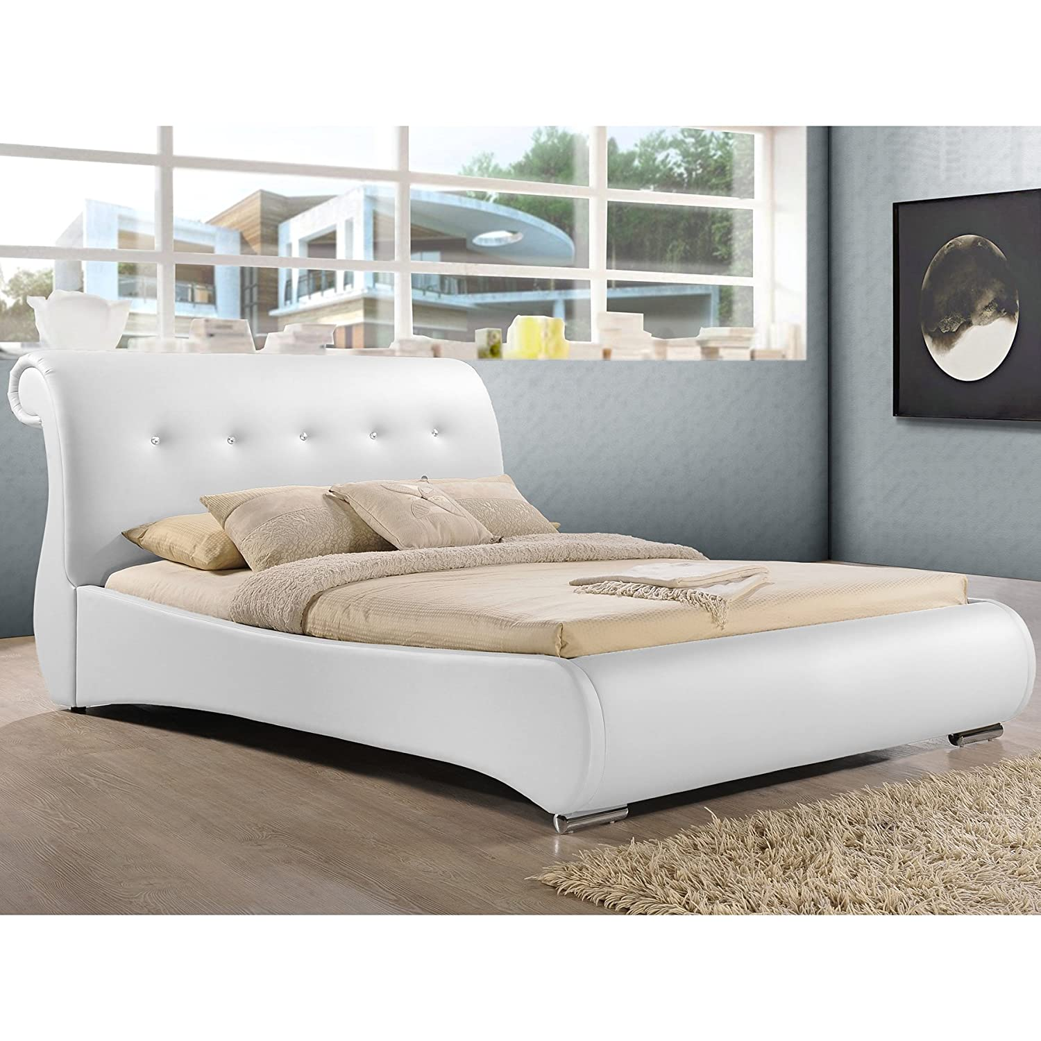 amazoncom baxton studio pergamena leather contemporary bed queen whitekitchen  dining. amazoncom baxton studio pergamena leather contemporary bed
