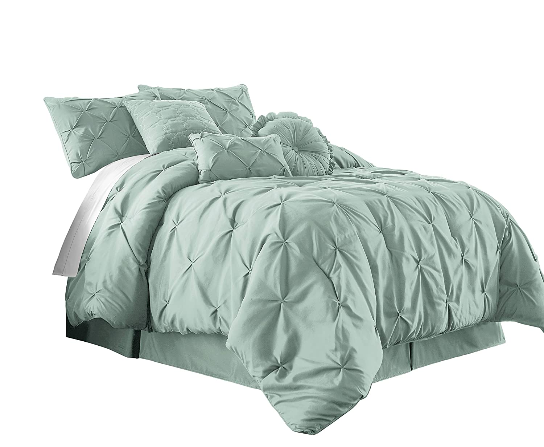 Chezmoi Collection Sydney 7-Piece Pintuck Bedding Comforter Set (Queen, Seafoam Green)
